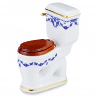 Toilet w/ Blue Bow Pattern