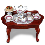 Table Decorated With Rosegarden Pattern Tea Set