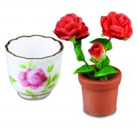 Cachepot With Rosebush