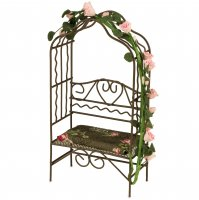 Garden Bench With A Rose Arch & Brown Flower Pillow