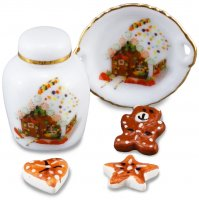 Christmas Cookies With Plate & Jar