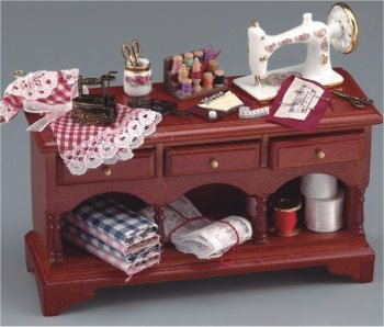 Decorated Sewing Table With Fabric & Thread