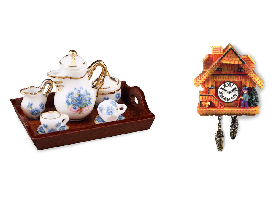 tea set and clock